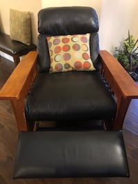 Leather and wood recliner  Langford, V9B 3L4