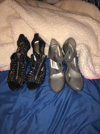 Two pairs of black and gray heels size 7  Montgomery, 12549