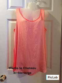 Xl- fits large women's coral tank top