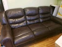 brown leather 3-seat sofa Montreal, H2S