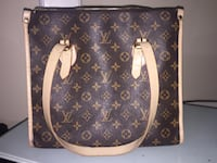 black and brown Louis Vuitton Monogram leather tote bag