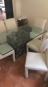 White and black clear glass top 7-piece dining set