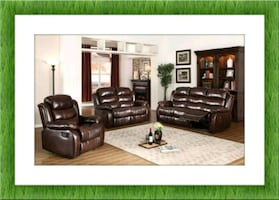 New Burgundy recliner sofa and loveseat