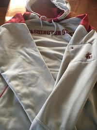 white and red Washington pullover hoodie