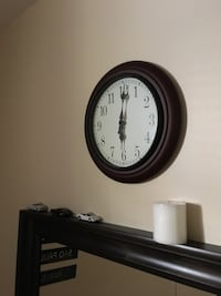 round brown wooden framed wall clock Toronto, M6N 2W8