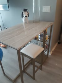Modern Marbled/Gold Bar Dining Table with Glass Shelving Washington