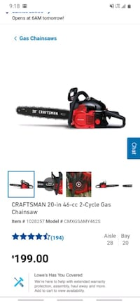 """Two^  20"""" craftsman chainsaws"""