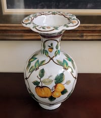 "Large 17 1/2"" Tall Ceramic Floor/Table Vase, Apricot Floral Design"