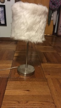stainless steel base with white fur table lamp
