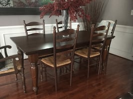 Pottery Barn Farmhouse Table with 6 Chairs & Side Buffet Console