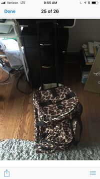 Rolling leopard duffle bag, used once.  Bloomfield, 07003