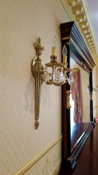 """24""""long (2)sconces crystal and brass Roslyn Heights, 11577"""