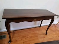 console table with glass top, made in US Germantown