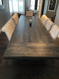 Solid wood table seating for 10 includes 10 fabric chairs.  Mississauga, L5N 7B2