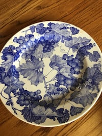 white and blue floral ceramic plate Pine Grove, 17963