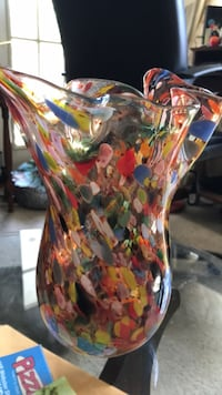 Studio art glass multi-colors flower vase.