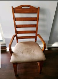 brown wooden frame white padded chair Scarborough, M1S