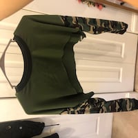 Large navy green top