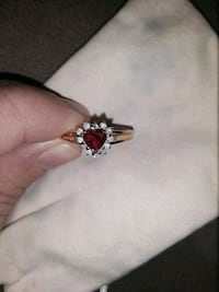 Ruby, diamond, and gold ring