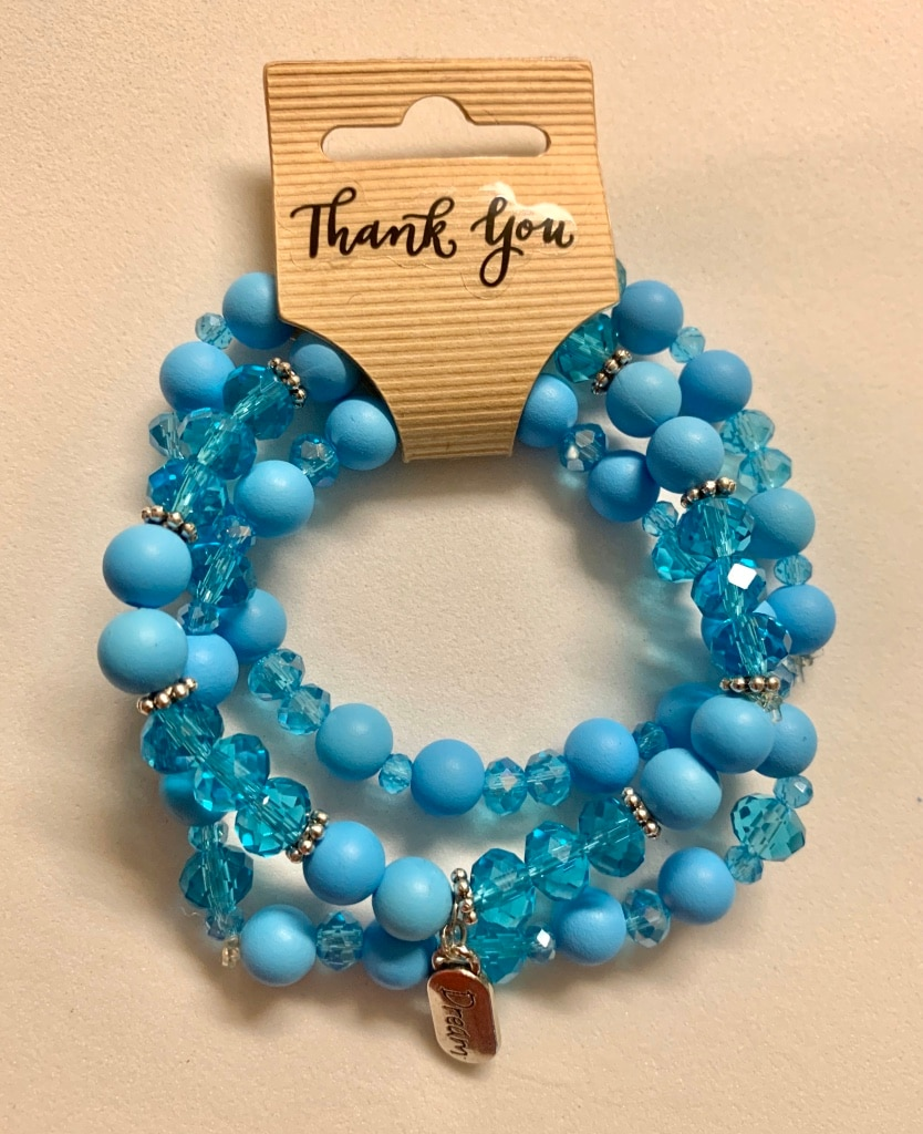 Photo Blue Stack Beaded Crystal Bracelets with charm