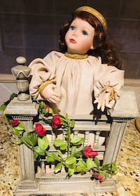 """Porcelain Doll """"Rosie"""", with hand painted fence with roses Edgewater, 21037"""