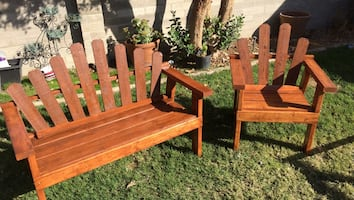 $100 Brownn wooden bench with armchair