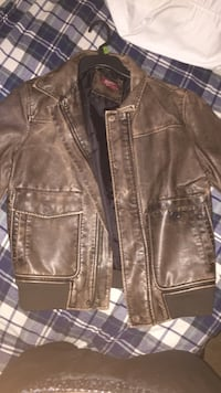 brown leather zip-up jacket