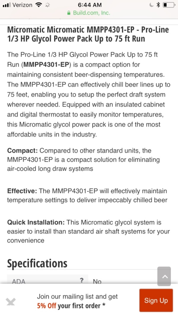 Beer tap line chiller  Micromatic Glycol Powerpack
