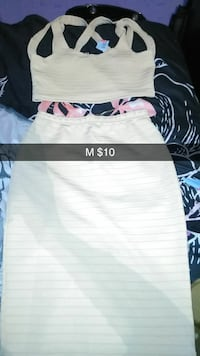 women's white crop top and skirt