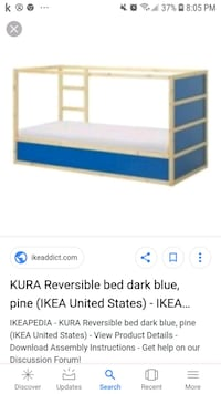 white and blue wooden bed frame screenshot Calgary, T3E