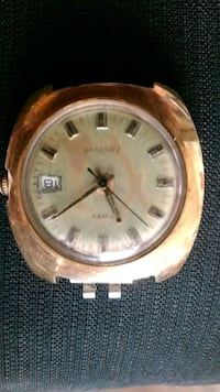 round gold-colored analog watch with link bracelet Canton, 28716