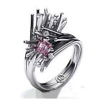 ACCENT PINK SAPHIRE FLOWER FASHION RING .925 Coquitlam