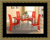 Glass red dining table with leather chairs Crofton