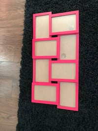 pink wooden collage photo frame