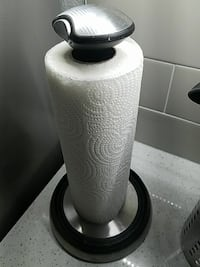 white paper towel with grey rack