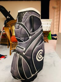 GOOD CONDITION CLEVELAND GOLF 14-WAY CART BAG W/MULTIPLE ZIPPERS