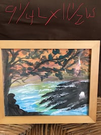 river between land and tree painting with brown frame