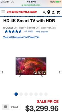 BRAND NEW SAMSUNG 4K SMART 240 HZ QLED 75 INCH Q8FN  Montclair
