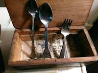 OLD WOODEN BOX WITH A 1958 NEWSPAPER AND 2 SPOONS  Evansville, 47711