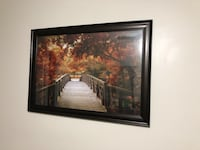 Brown wooden bridge with trees painting Mississauga, L5W 0E8