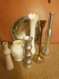 Decorative vases and a brass candlestick  &  plate Falls Church, 22042