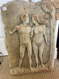 Adam & Eve gray concrete hanging wall piece Oakville, L6M 5B2