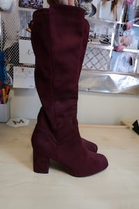 pair of maroon leather knee-high chunky heel boots Newport, NP20