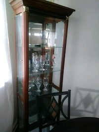 brown wooden framed glass display cabinet Broomall, 19008