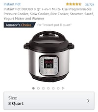Instant Pot DUO80 8-Qt 7-in-1 Multi-use Programmable Pressure Cooker, Slow Cooker, Rice Cooker, Steamer, Sauté, Yogurt Maker, and Warmer. 375 mi