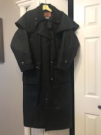 Australian Outback Trail Full Length Coat - Black - Style: Stockman Duster Oilskin - Completely Weatherproof! Retails New for $220.00! Only worn 2 times, in brand new condition! 3131 km