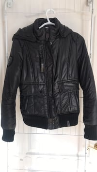 Rudsak black leather zip-up jacket SMALL Le Gardeur, J5Z 1N5