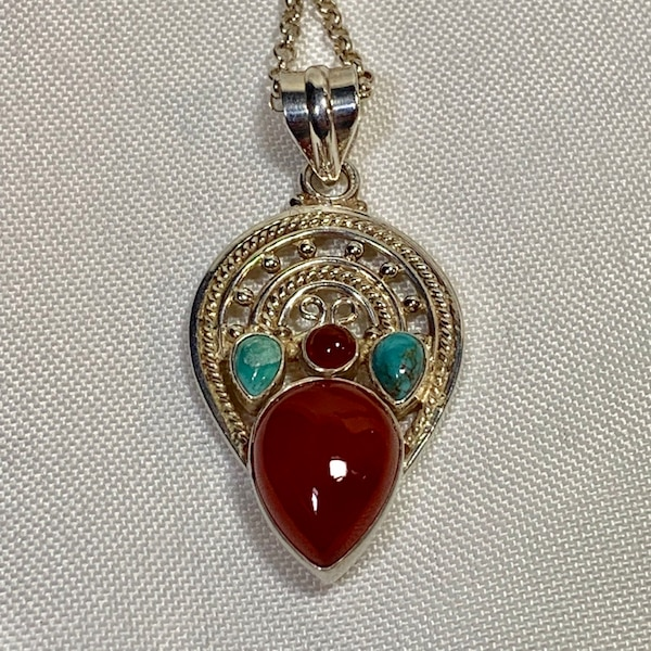 Genuine Navajo Sterling Silver Turquoise Coral Pendant with Rolo chain e8f65335-1485-4c4d-9715-71cc5b074573