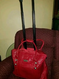 Travel Bag Red Pleather Snake Skin pattern.