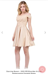 Dancing Queen Off-shoulder A-line Homecoming Cocktail Dress Champagne color El Centro, 92243